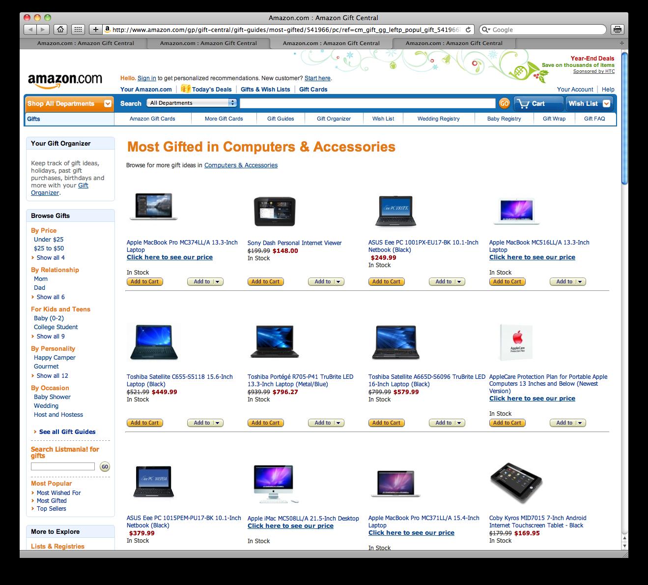 Mais presenteados da Amazon.com