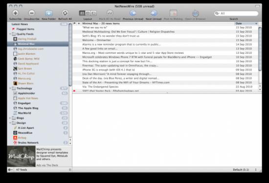 NetNewsWire no Mac OS X