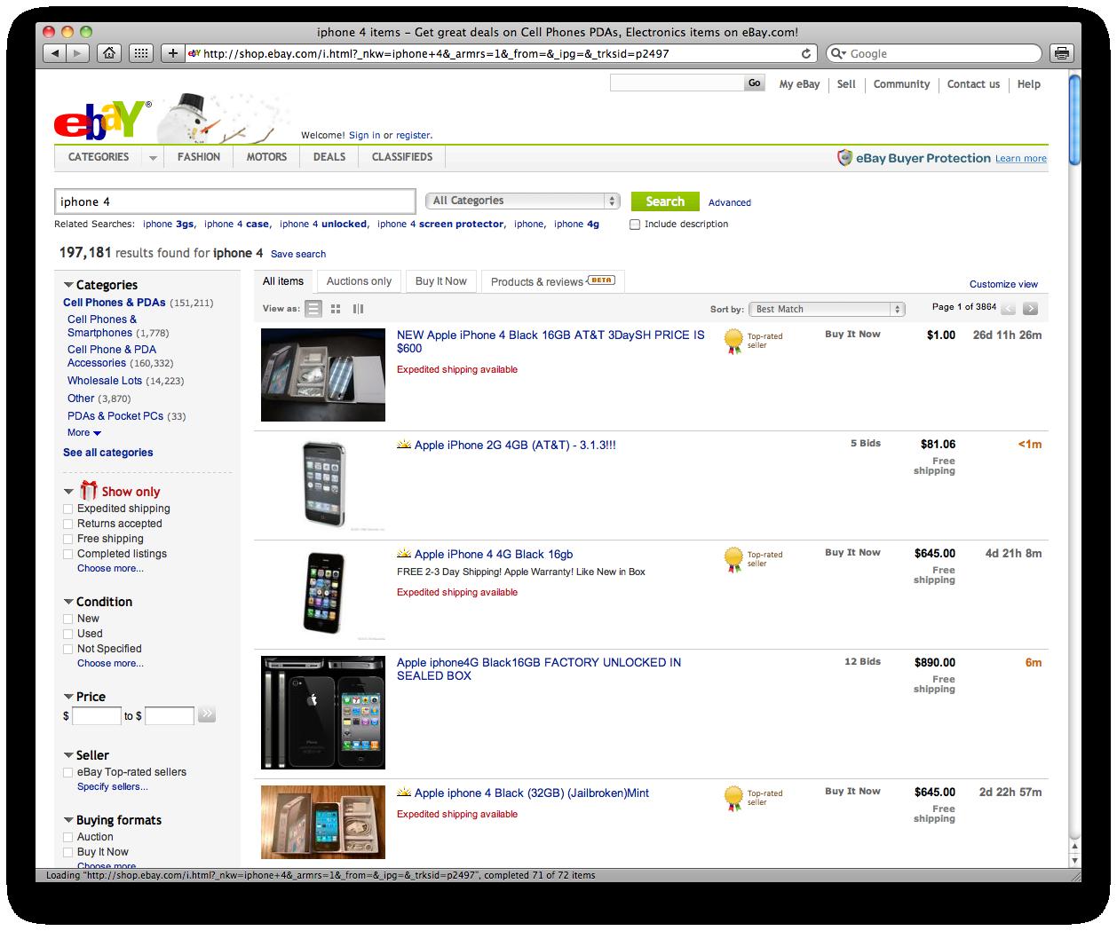 iPhone 4 no eBay
