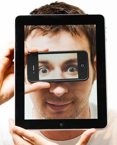 Foto criativa com iPhone e iPad