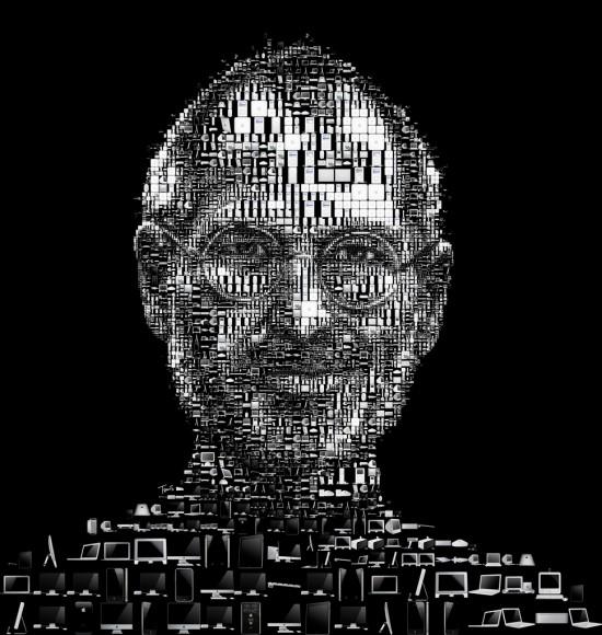 Mosaico de Steve Jobs com produtos da Apple