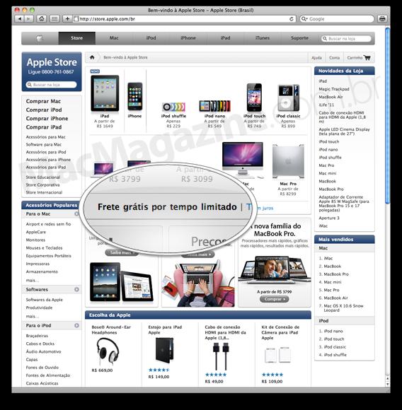 Apple Online Store Brasil com frete grátis