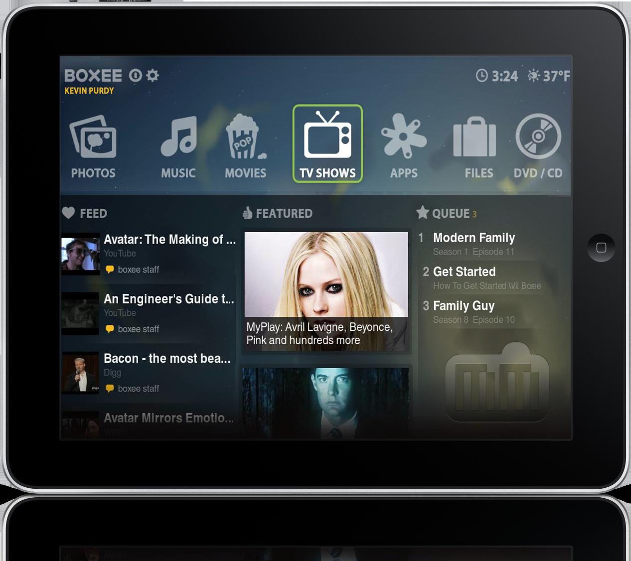 Mockup do Boxee no iPad