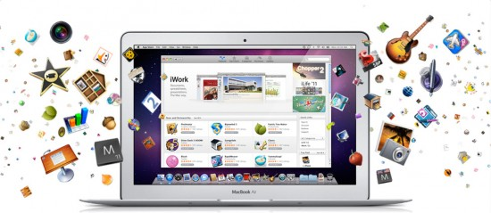 Mac App Store com apps e MacBook Air