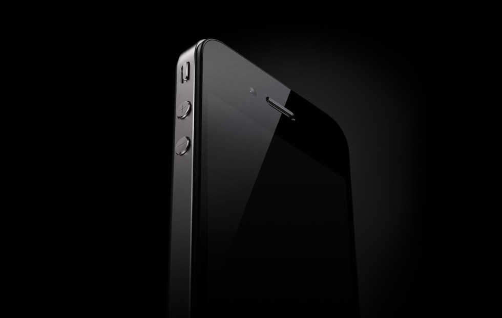 iPhone 4 visto de baixo com fundo preto
