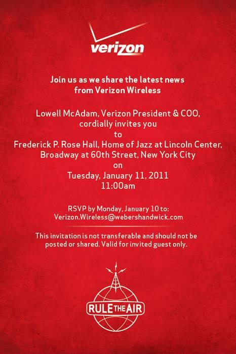 Convite da Verizon para o iPhone
