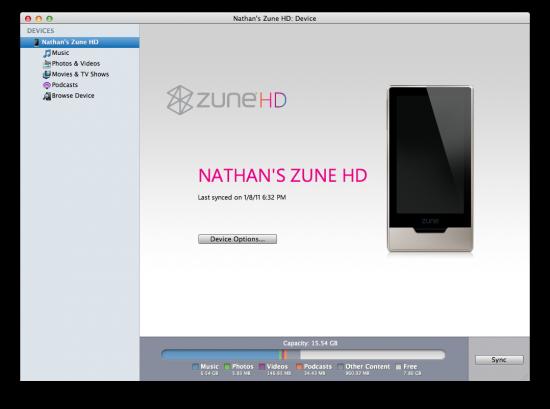 Sincronização de um Zune HD no Mac OS X