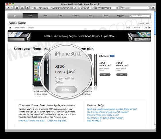 iPhone 3GS de 8GB por US$49