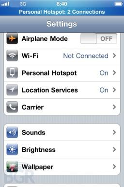 Personal Hotspot no iOS 4.3