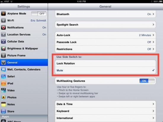 Opção do switch do iPad no iOS 4.3