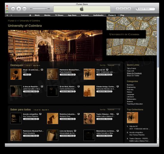 Universidade de Coimbra no iTunes U