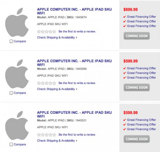 SKUs de iPads encontrados na Best Buy