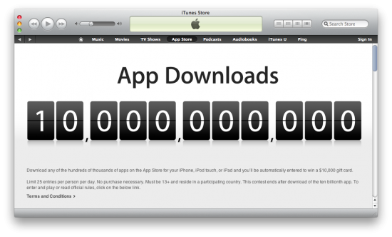 10 bilhões de apps na App Store