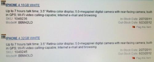 iPhone 4 branco listado pela Best Buy
