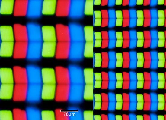 Subpixels de um iPad Retina