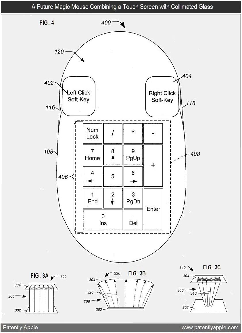 Patente de mouse com tela de vidro colimado