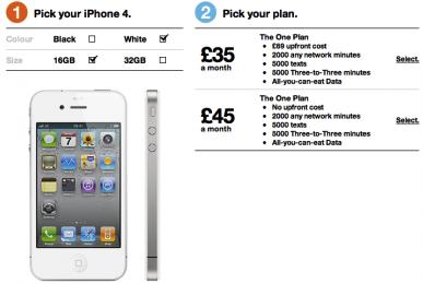 iPhone branco no sistema da Three