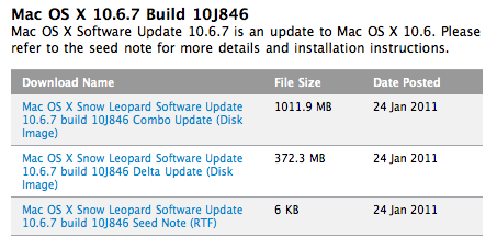 Segunda beta do Mac OS X 10.6.7