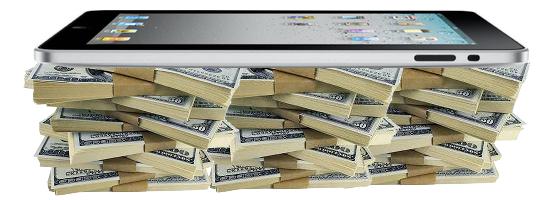 iPad em uma pilha de dinheiro