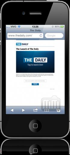 Lançamento do The Daily num iPhone