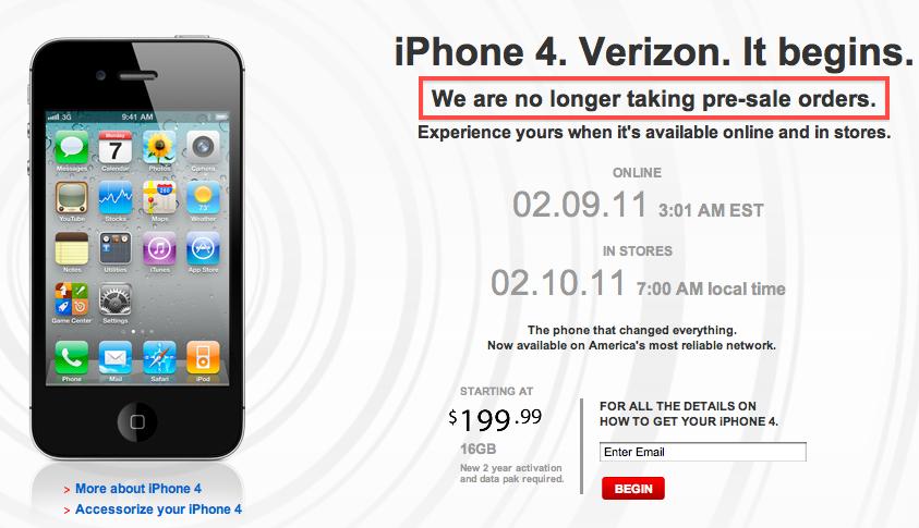 iPhone 4 CDMA esgotado