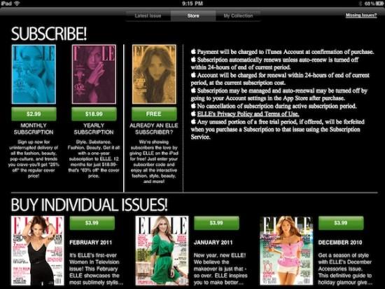 Assinaturas na ELLE para iPad