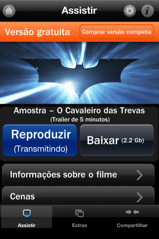 Screenshot de app-filme da Warner