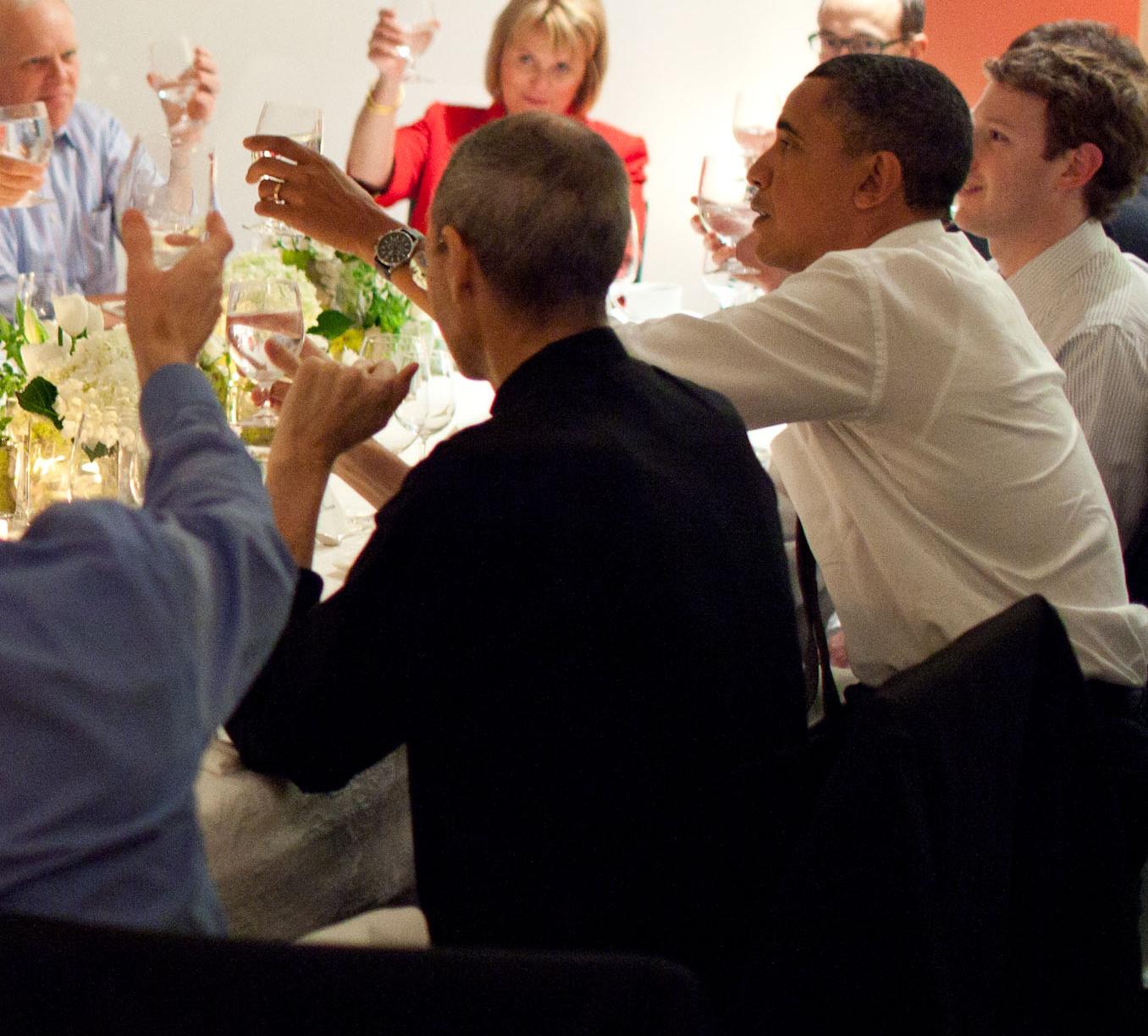 Steve Jobs em jantar com Barack Obama
