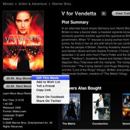 V de Vingança na iTunes Store