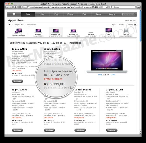 MacBooks Pro na Apple Online Store