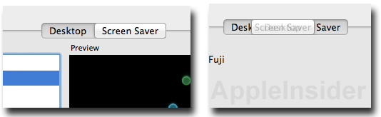Detalhe da Seleção de abas no Mac OS X Lion