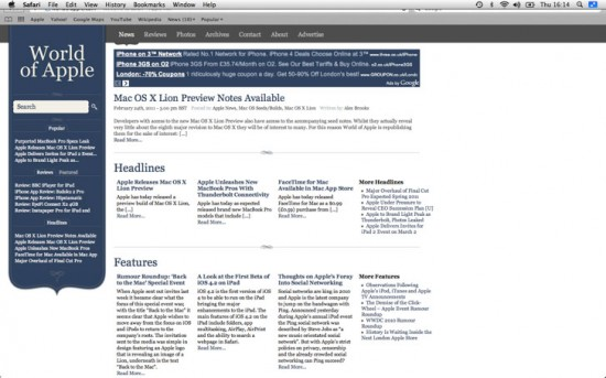 Safari em tela cheia no Mac OS X 10.7 Lion