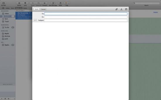 Nova mensagem do Mail em tela cheia no Mac OS X 10.7 Lion