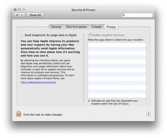Painel de privacidade no Mac OS X 10.7 Lion