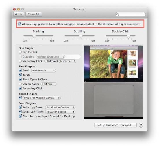 Ajuste de sentido do scroll no Mac OS X Lion