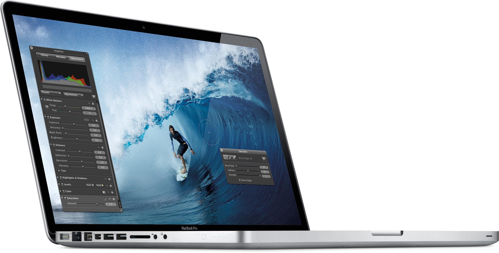 MacBook Pro de 15 polegadas com Aperture aberto