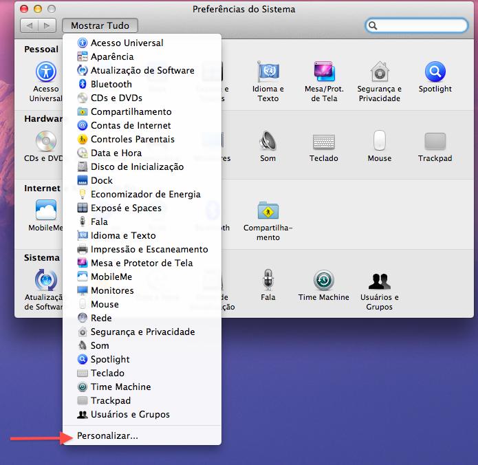 Preferências do Sistema no Mac OS X Lion