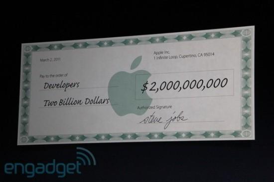 Chuque de dois bilhões de dólares pagos a desenvolvedores