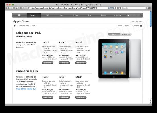 iPad na Apple Online Store Brasil