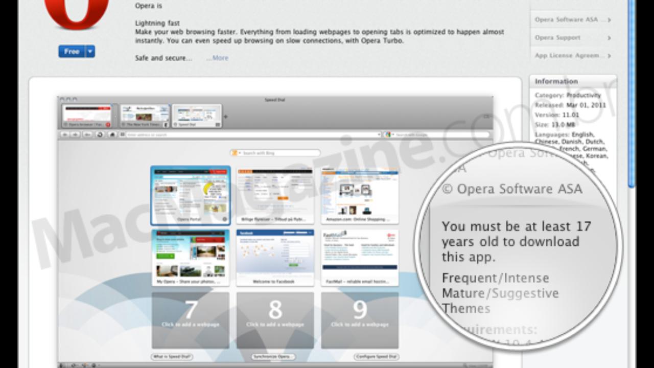 Apple define classificação mínima de 17 anos para o Opera na