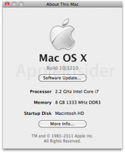 Mac OS X 10.6.6 build 10J3210