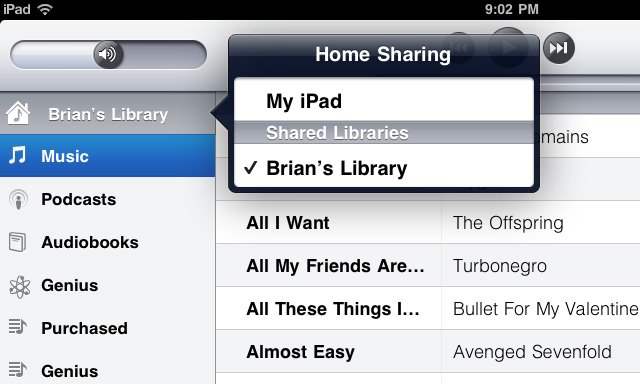 Home Sharing no iOS 4.3