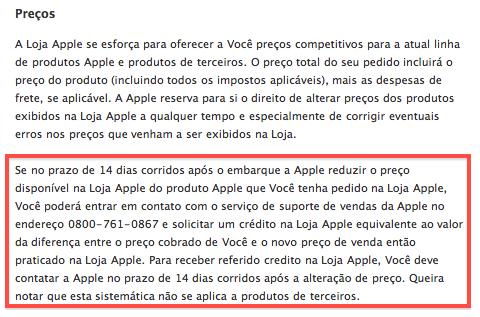 Política de redução de preços na Apple Online Store