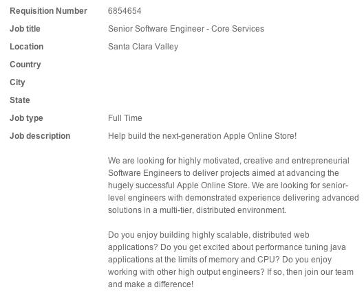 Vaga de emprego para Apple Online Store