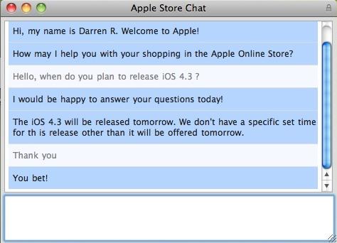 Atendente da Apple fala sobre o iOS 4.3