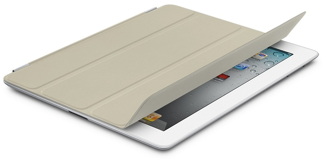 iPad 2 branco com Smart Cover bege