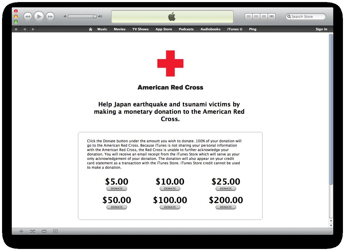 iTunes Store em apoio à Cruz Vermelha