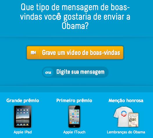 Mensagem de boas-vindas a Obama - Embaixada dos EUA