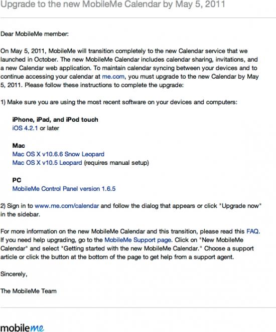 Email da Apple sobre MobileMe Calendar