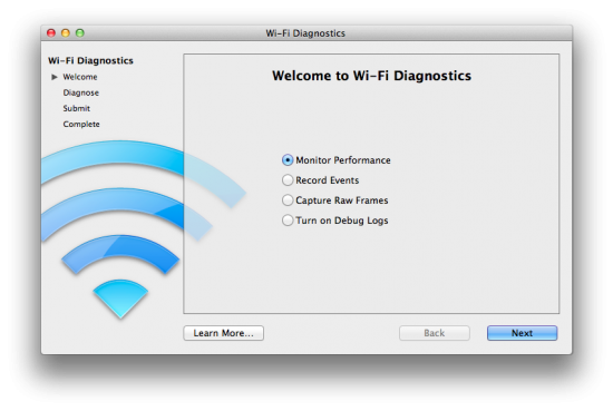 Diagnósticos de Wi-Fi no Mac OS X Lion